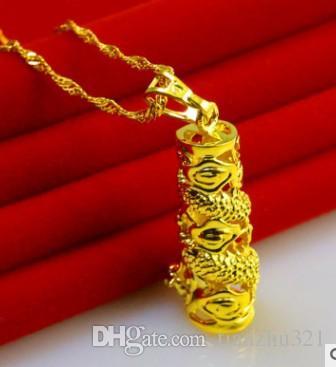 2 pcs maravilhoso ouro pingente de dragão colar 1688 yfghf