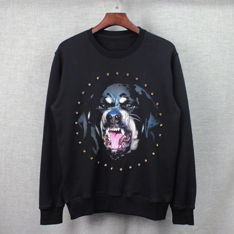 2016 الخريف والشتاء المرأة هوديس fleeve كريستال الماس الكلب rottweiler المرأة الرجال عارضة البلوز هودي
