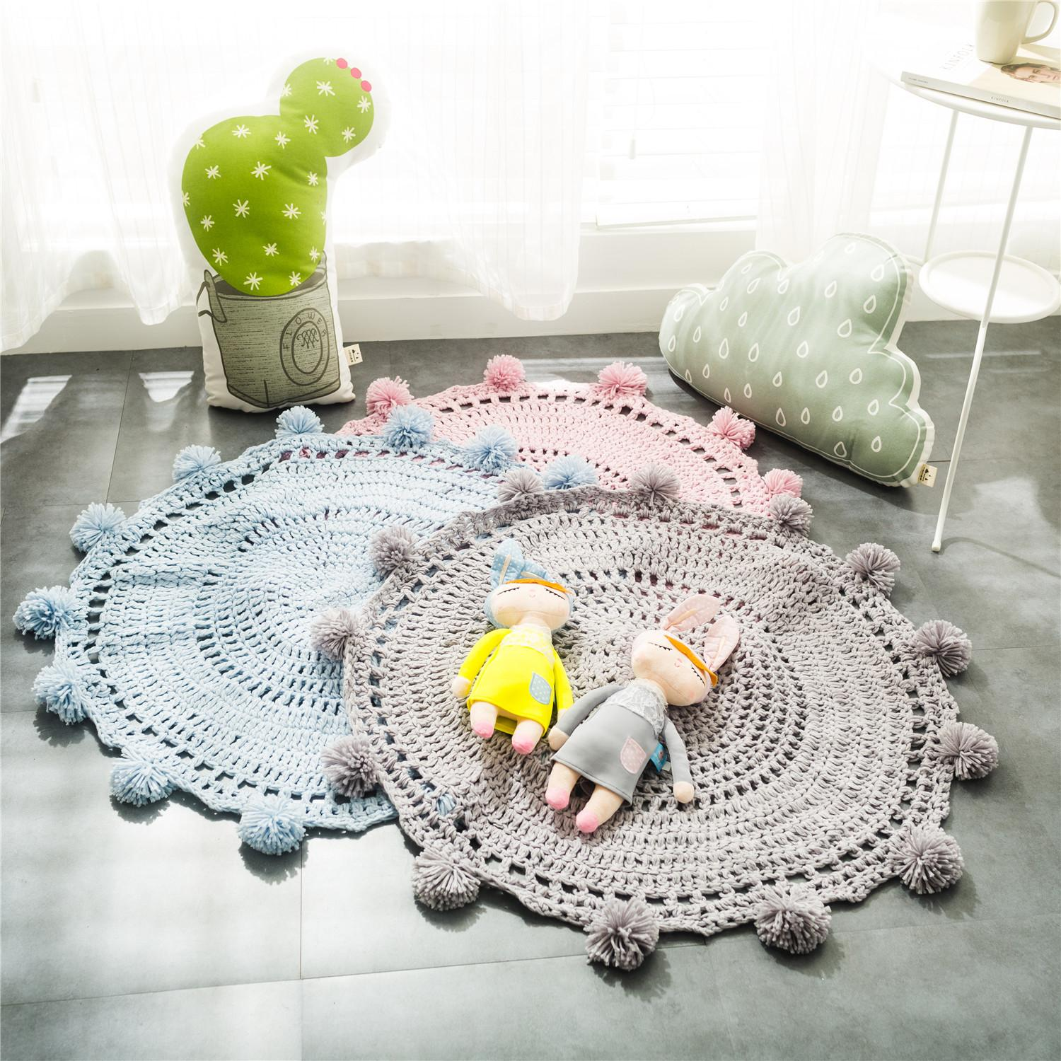 children room carpets INS DIY Carpets Nordic style photography props room pad handmade crochet carpets DIY knitting pads ZJ-31