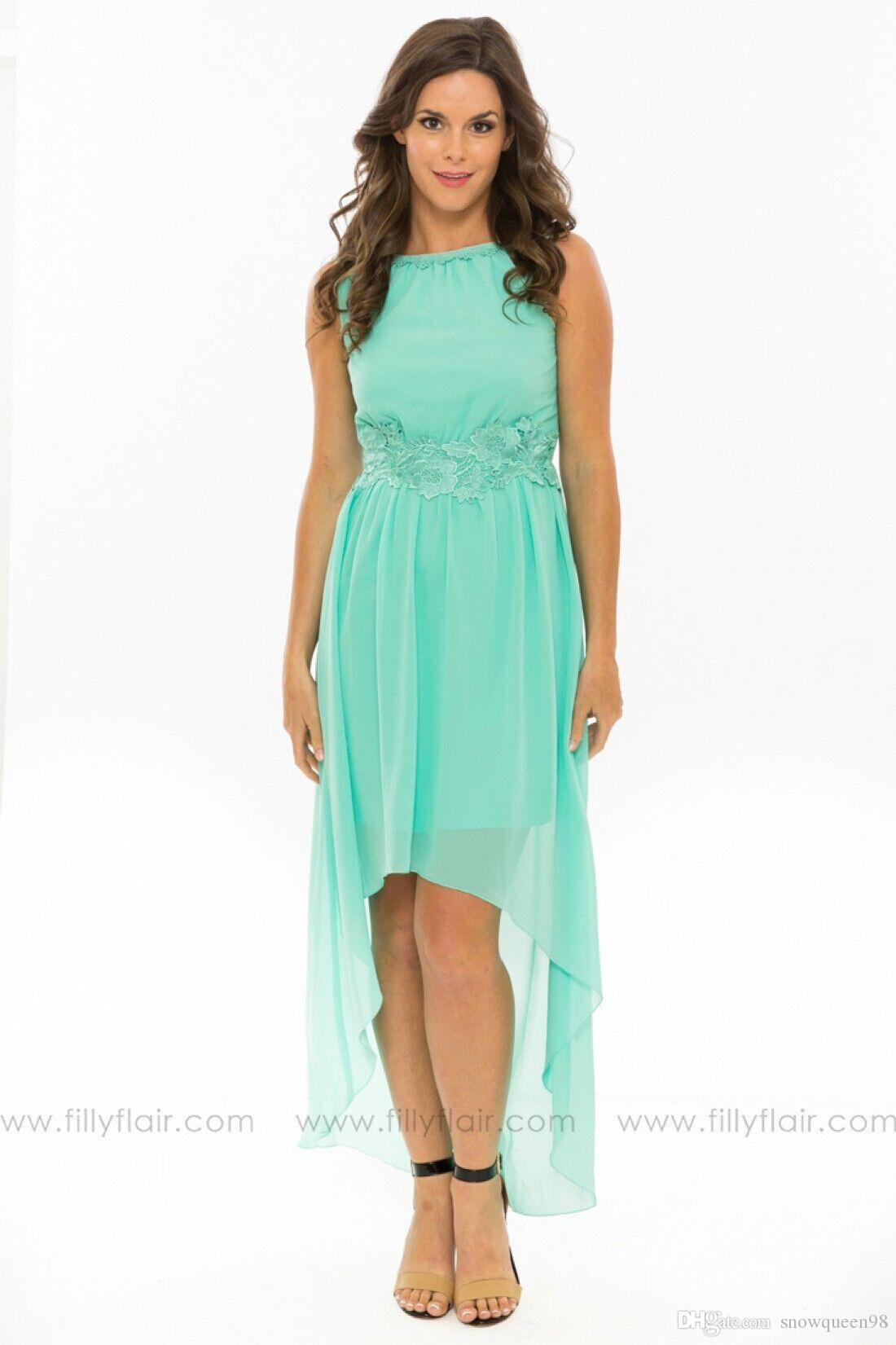2016 Simple Modest Mint Green Bridesmaid Dresses High Low V Back ...