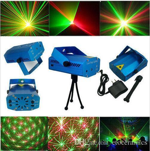LED Mini Bühnenlicht Laser Sprachsteuerungsprojektor Mischte Rot Grüne Beleuchtung mit Stativ für Lights Xmas Club Party Bar Pub Club Music DJ