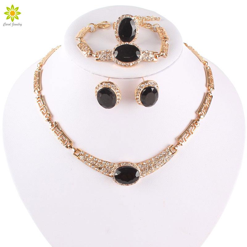 Conjuntos de jóias Banhado A Ouro Venda Quente Projeto de Cristal Austríaco Colar Pulseira Anel Brincos Conjuntos Para As Mulheres Conjunto De Casamento