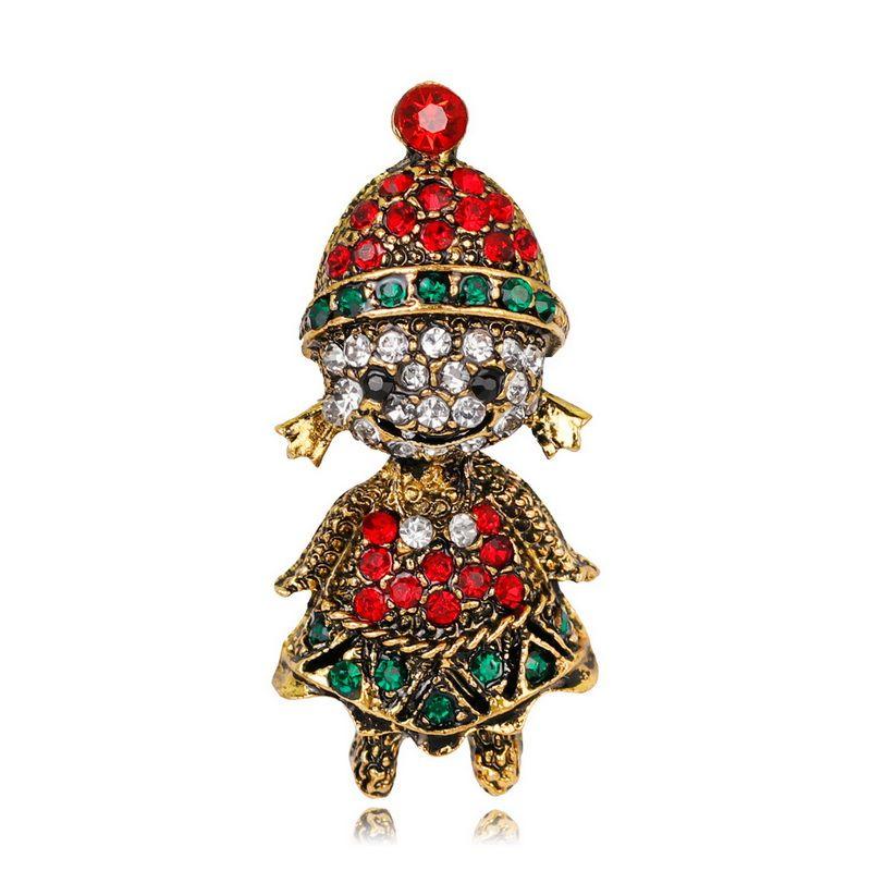 Broche de Noël dessin animé Vintage alliage cristal strass petite fille broches or antique et ruban plaqué DHL livraison gratuite