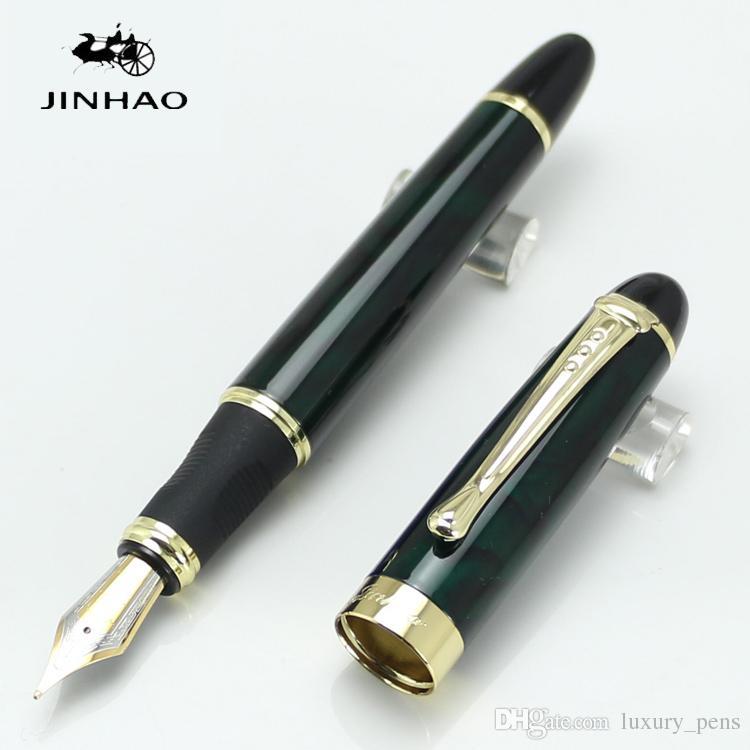 Wholesale-new JINHAO X450 dark greed and golden Fountain Pen Full Metal Golden Clip 18 KGP 0.7mm broad NIB Office School Supplies