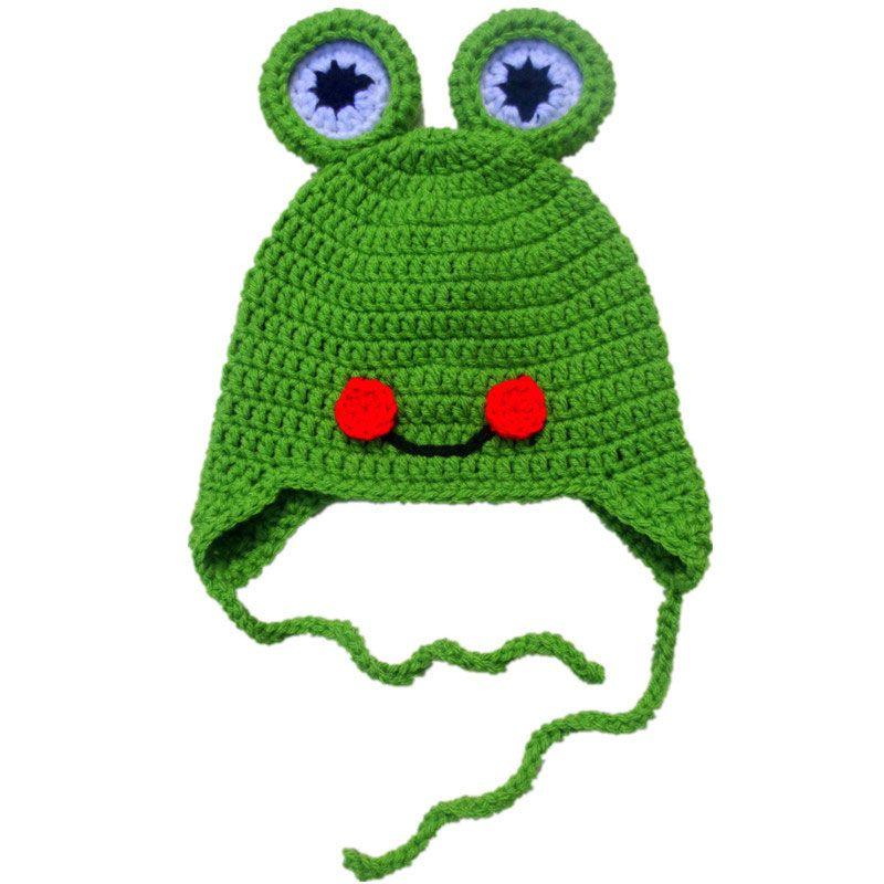 Sombrero de rana feliz de la novedad, sombrero hecho a mano del ganchillo del bebé de la muchacha del muchacho del bebé del ganchillo hecho a mano, sombrero del príncipe de la rana, sombrero del invierno de los niños, apoyo de la foto del niño