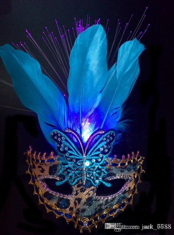 freie Verschiffenfabrik, die heiße lumiThe neue leuchtende SchmetterlingsGesichtsmaske Großhandelshaarprinzessin Krone Weihnachtsmaske Halloween-Maskentanz verkauft