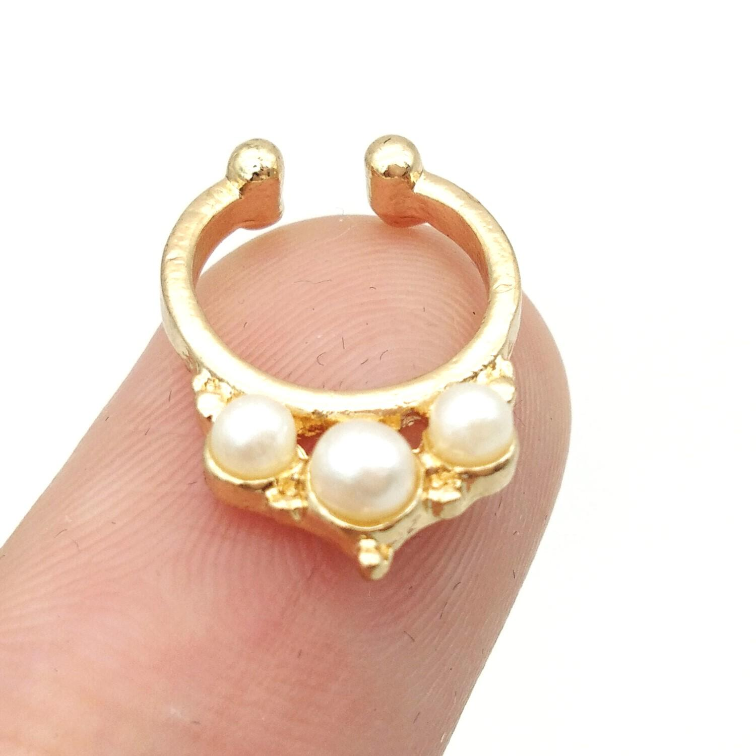 2020 2016 New Design Imitation Pearl Fake Nose Ring Clip On Body