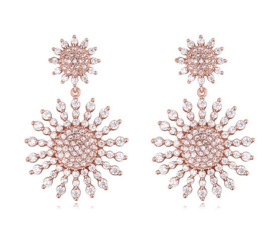 Baumeln Kronleuchter Ohrringe Mode Luxus Exuqisite Qualität Zirkon 18 Karat Gold Überzogene Sonnenblumen Tropfen Ohrringe Großhandel TER011