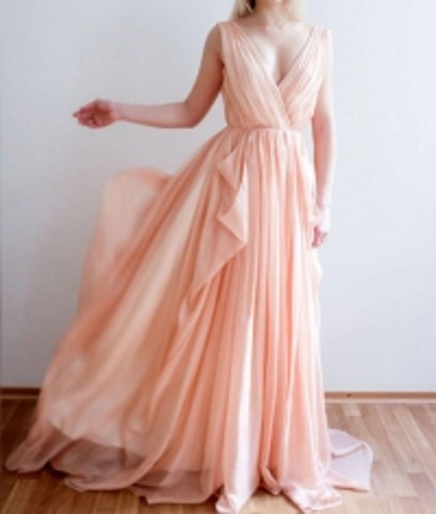 Discount Orange Pink Wedding Dress Beach Flowing Chiffon Drafts ...