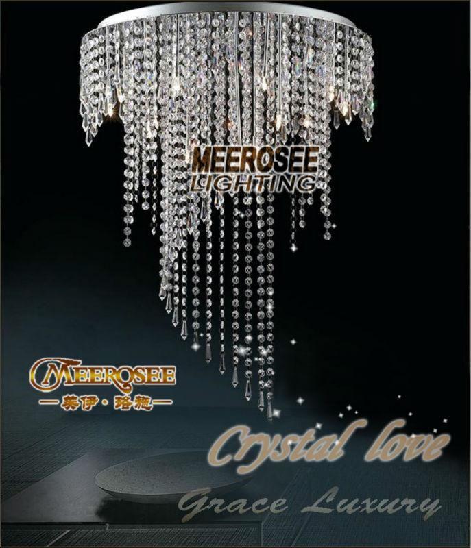Crystal Chandelier Ceiling lamp crystal lustres de teto light fixture Long ceiling Lighting With 7 GU10 Bulbs MD1015 D500mm H2750mm