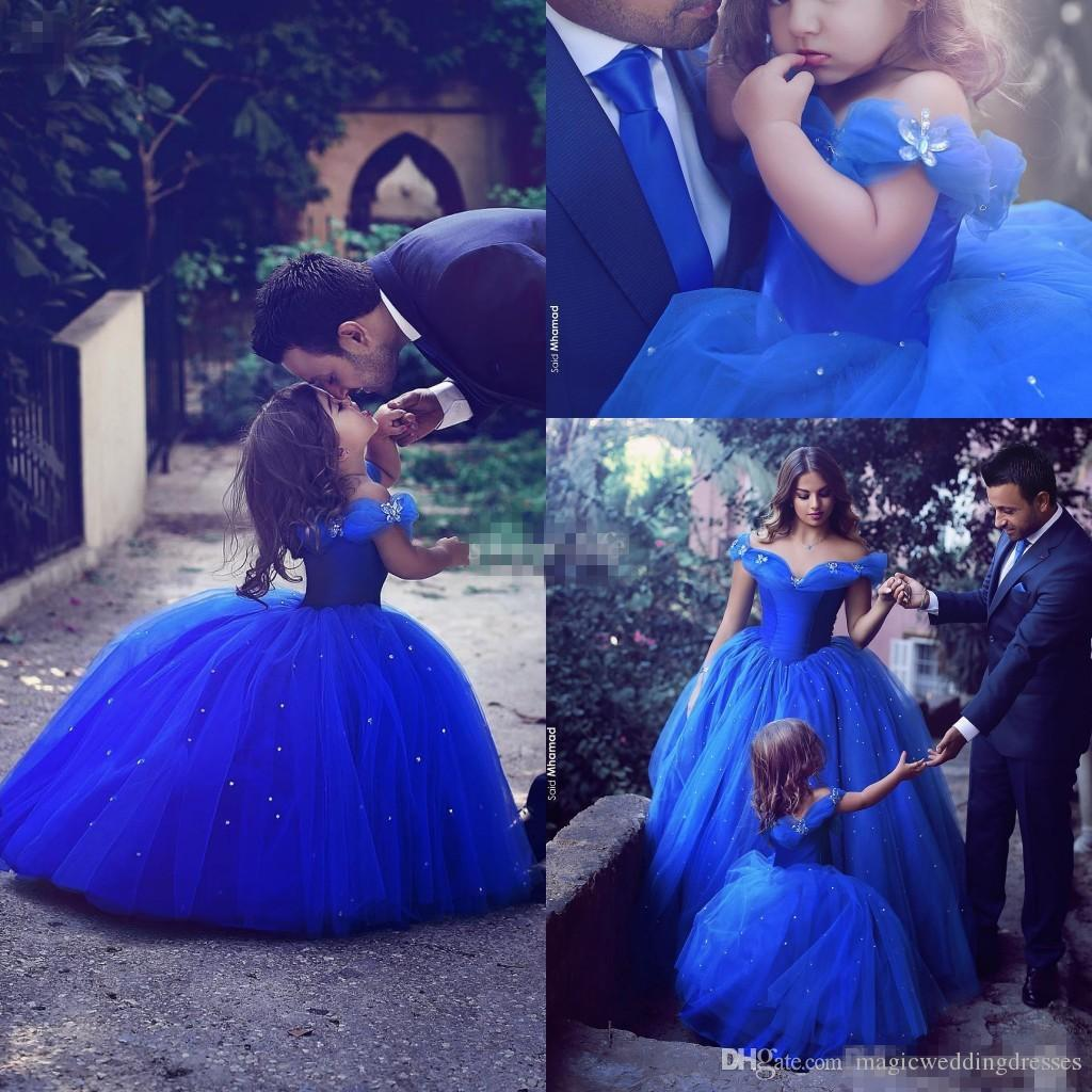 Royal Blue Princess Wedding Flower Girl Dresses Puffy Tutu Off Shoulder Sparkly Crystals 2017 Toddler Little Girls Pageant Communion Dress