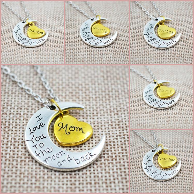 Collier de mode femmes collier de lune collier pendentif je t'aime à la lune et retour pour la famille pendentif lien chaîne accessoires de fête