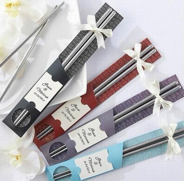 100Pairs/lot 200pcs East Meets West Stainless steel chopsticks Chinese style wedding Wedding / Function favors gifts DHL FEDEX Free shipping