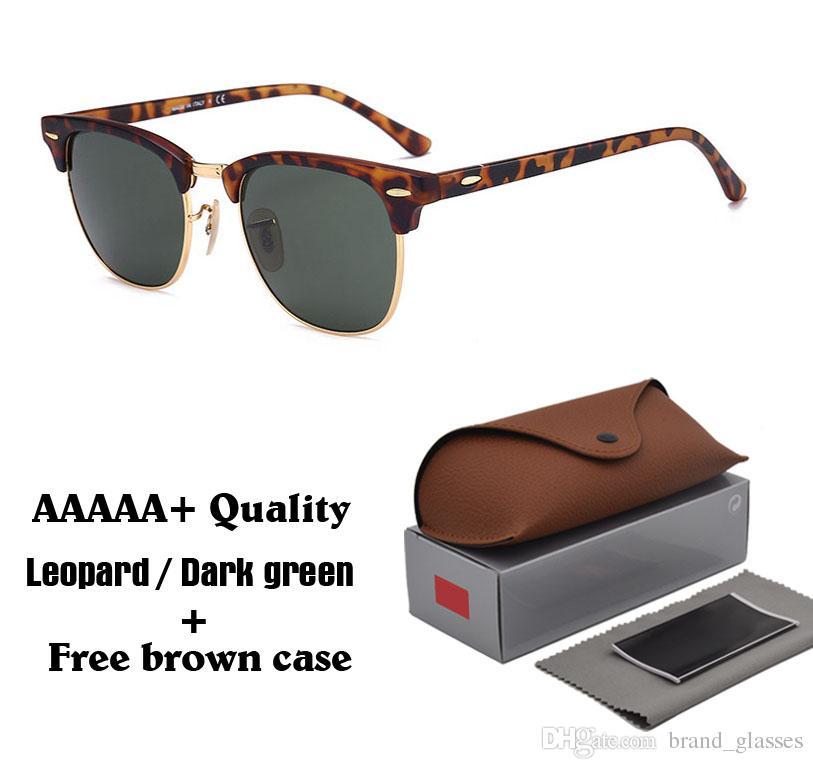 2020 Classic Retro Vintage Glass Lens Sunglasses Men Women Brand Designer Sun glasses uv400 Goggle with brown cases and box