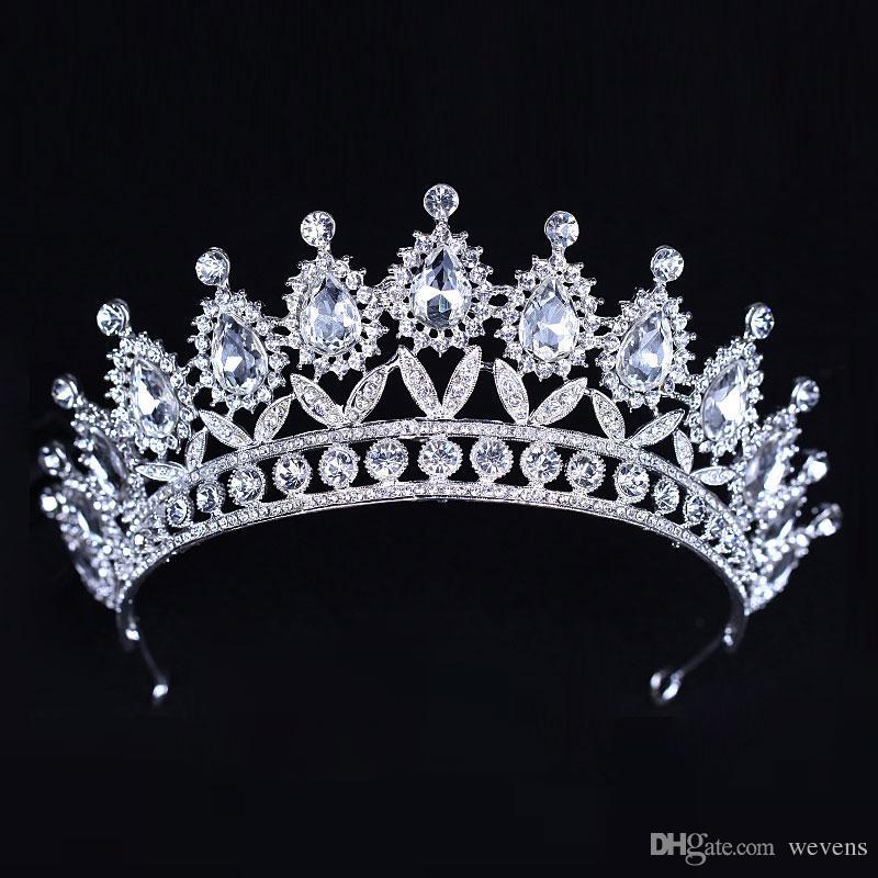 Роскошные Серебряные Кристаллы Свадебные Короны Из Бисера Свадебные Диадемы Горный Хрусталь Головные Уборы Оголовье Дешевые Аксессуары Для Волос Pageant Корона