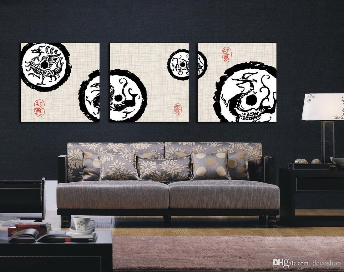 Ancient Chinese Dragon Abstract Painting Giclee Print On Canvas Wall Art Home Decoration Set30212