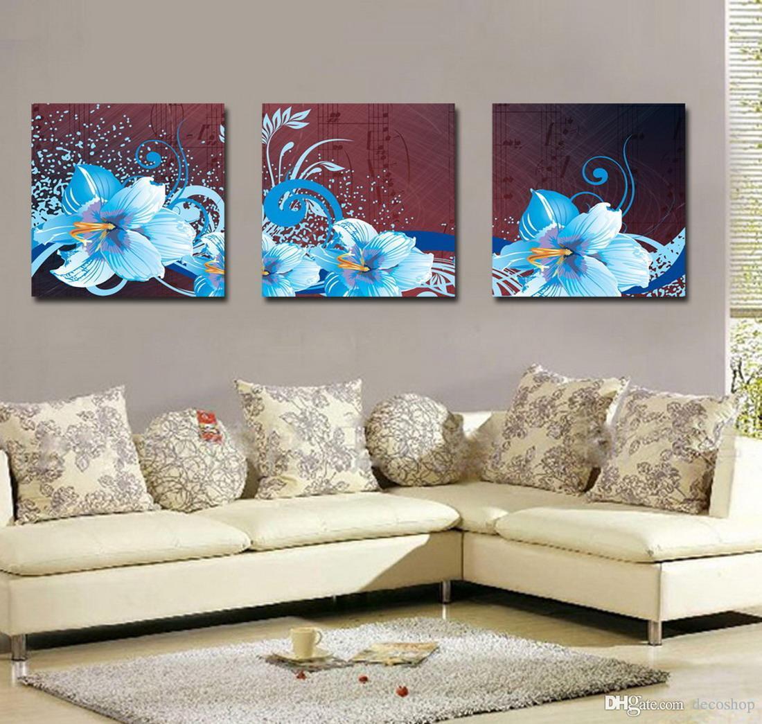 Modernas Belas Flores Finas Pintura Floral Giclee Impressão Na Lona Home Decor Wall Art Set30155