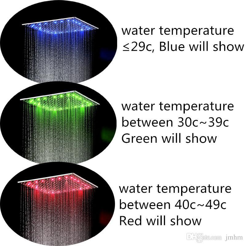 شنت التصميم الجديد سقف 20inch 500 * 500MM المائية تغيير اللون تقودها السلطة الأمطار الخفيفة ضبابية حمام دش رئيس