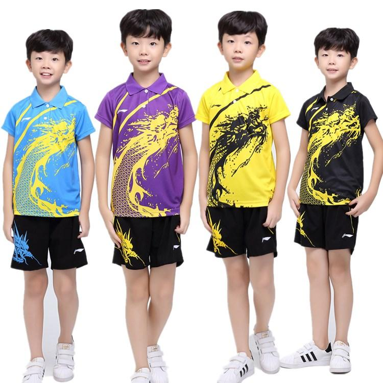 New Children Li-Ning badminton wear suits,boys and girls table tennis t-shirt + shorts.tennis/pingpong shirt sport shorts tainnning clothing