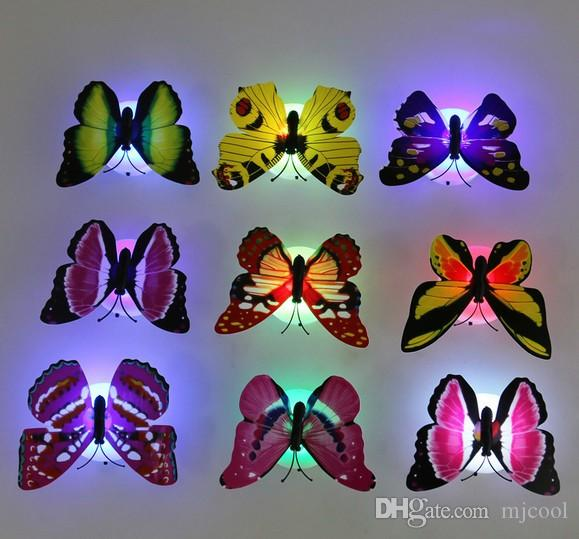 Lovely Creative Color Changing ABS Butterfly LED Night Lights Lamp Beautiful Home Decorative Wall Nightlights Random 10PCS