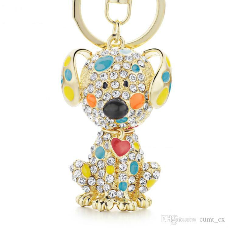 Emaille Dalmatiner Hund Rotes Herz Kristall Handtasche Anhänger Schlüsselanhänger Schlüsselanhänger Für Auto schlüsselanhänger halter frauen