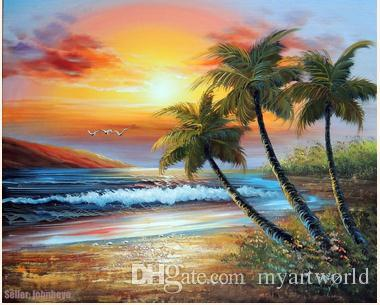 Framed Sunset Hawaii South Pacific Island Beach Shore Palm Pure Hand Painted Seascape Art Oil Painting Canvas.Multi sizes John