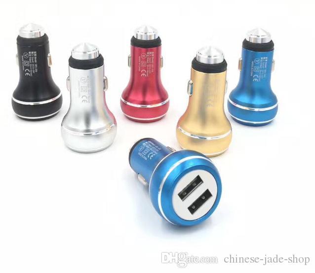 Gourd Safety Hammer Aluminium Alloy Real 2.4a Dual Port USB Billaddare Universal för Smart Phone IC Skydd 100PCS / Lot