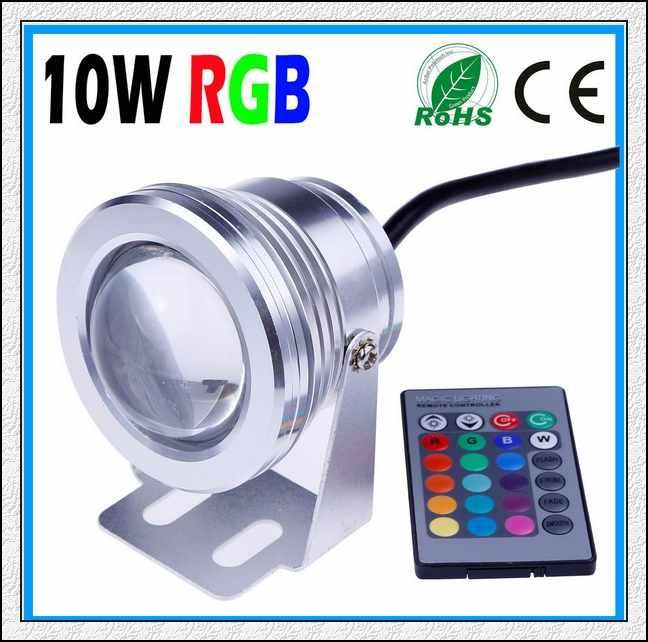 10W 12V RGB Underwater Led Light Floodlight CE/RoHS IP68 950lm 16 Colors Changing with Remote for Fountain Pool Decoration 10PCS