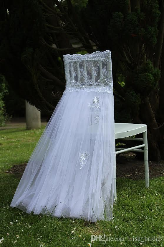 2016 Lace Tulle Wedding Chair Sashes Vintage Romantic White Chair Covers Floral Wedding Supplies Cheap Wedding Accessories