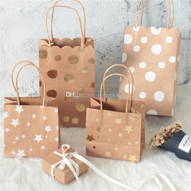 nice quality dot star printing kraft paper bag with handle gift/cookies/candy/jewellery/accessories packing 50pcs free shipping