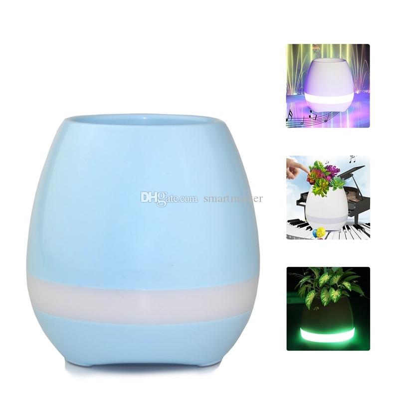 2017 Mini smart flowerpot sensor Bluetooth speaker Flower pot Plastic Green plant pots decorative Macetas pot Playing Smart Music