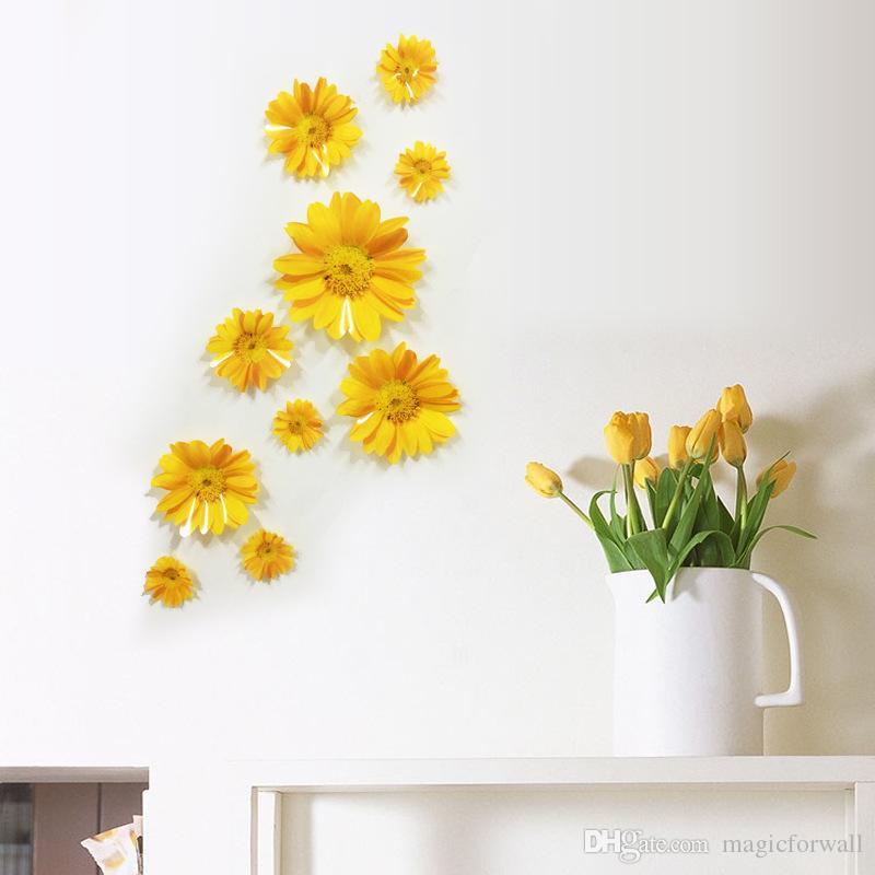 10PCS 3D Stereo Daisy Flowers Wall Decor Living Room Bedroom Art Mural Poster Furniture Glass Home DIY Decoration Chrysanthemum
