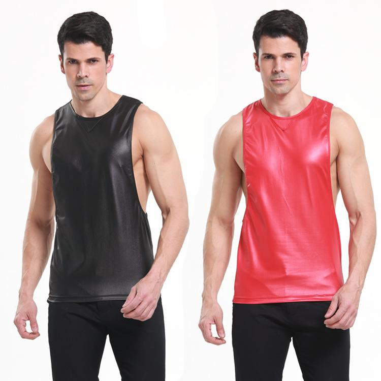 Men Sexy Vest Faux Leather PU Solid Color Black Red Male Sport GYM Tank Tops Sleeveless Tanktop T-shirts