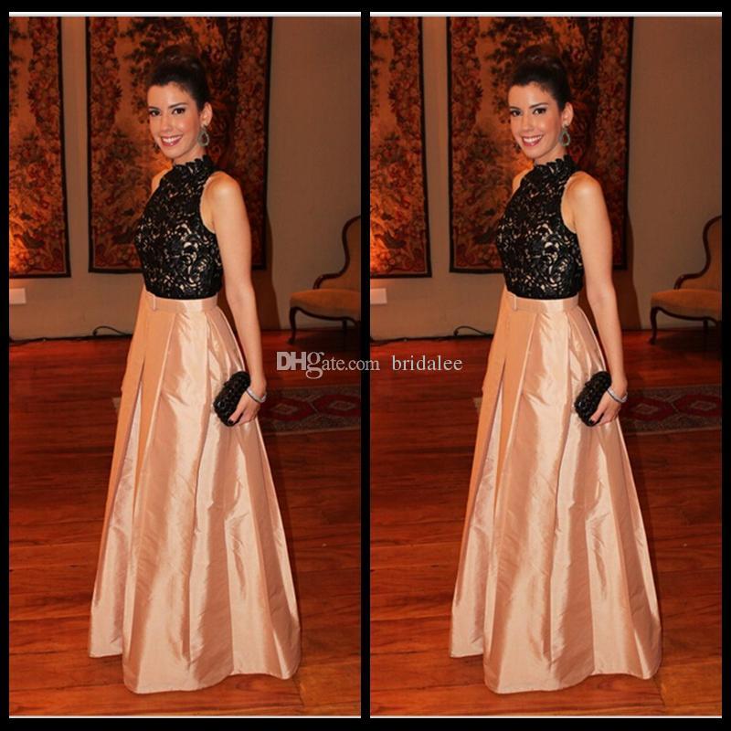 Abiti da sera eleganti lunghi 2016 Sexy Celebrity Party Celebrity formale Abiti Kaftan Hijab Pizzo taffettà Lunga vita reale Robe De Soiree