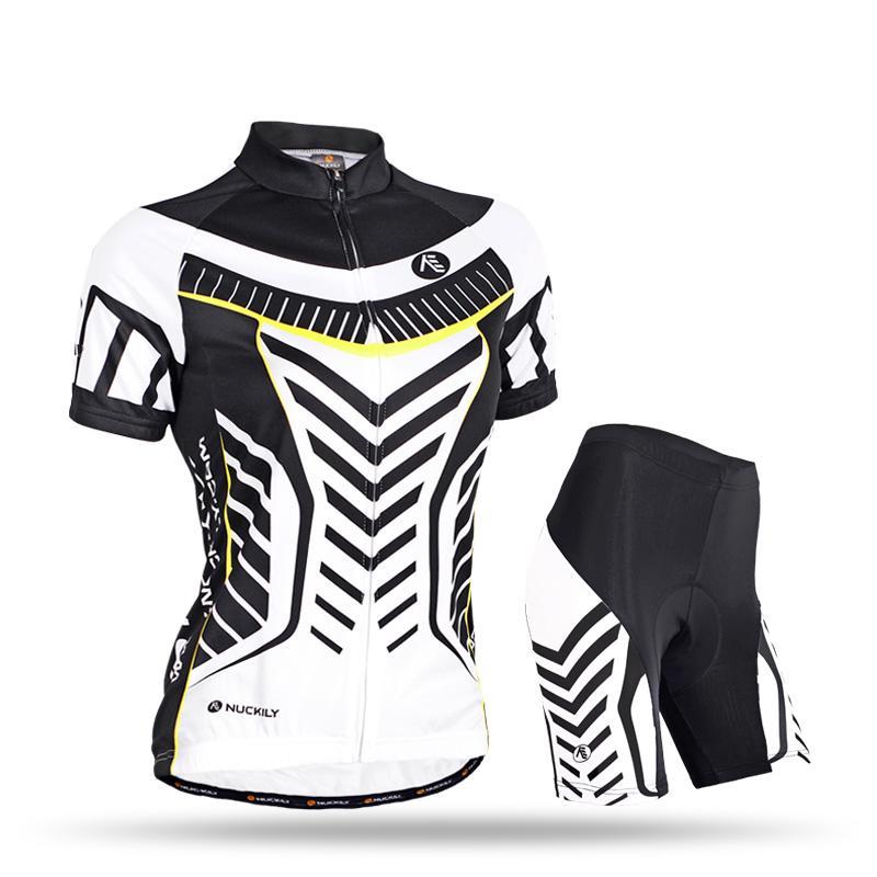 Las mujeres ciclismo NUCKILY cómodo Jersey + shorts Bicycle Outdoor Jersey Set Blanco y negro GB003 Tamaño S, M, L, XL