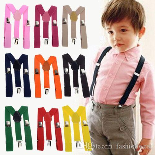 Niños correas tirantes para niños muchachas de los muchachos del color sólido elástico ajustable tirantes tirantes 1 a 8 Año de venta de los muchachos tirantes Moda