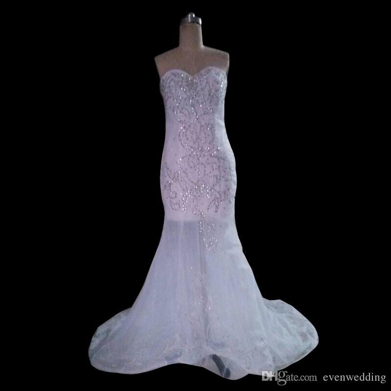 Sexy Chérie Perles Cristal Robe De Mariée Sirène De Dentelle Jusqu'à 2016 Robe De Mariée De Train De Cour Réel Photo