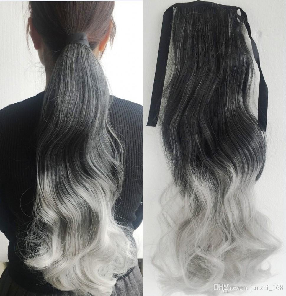 Frauen lange gewellte Ombre Haarverlängerung Pferdeschwanz Kordelzug Band Multicolor Two Tone Gradient synthetische Pferdeschwanz Haar schwarz grau Pferdeschwanz