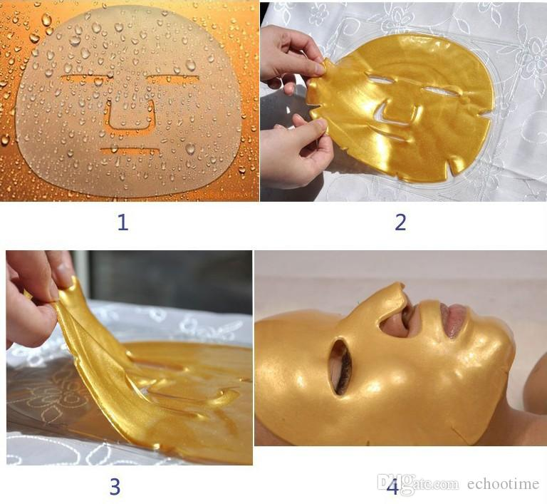 Echootime Free Shipping Gold Bio-Collagen Facial Mask Face Mask Crystal Gold Powder Collagen Facial Mask Peels Moisturizing 400PCS/LOT