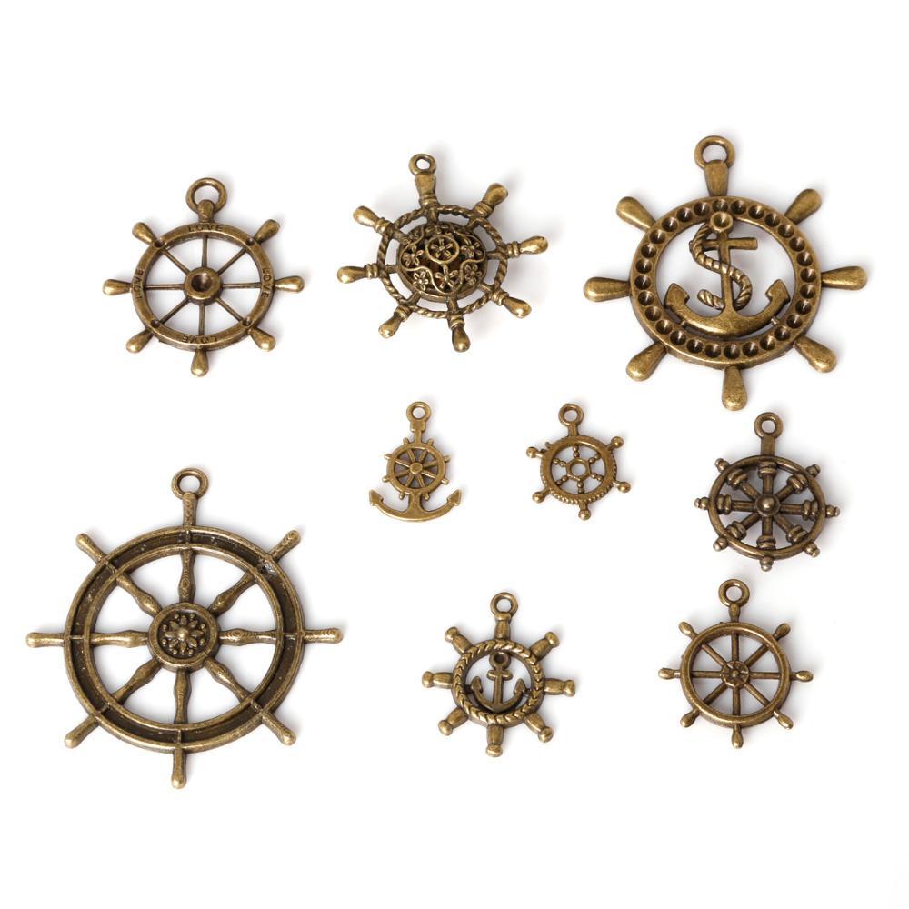 O envio gratuito de 43 pçs / lote liga de zinco antigo de bronze chapeado leme encantos pingentes de tibetanos do vintage diy pulseira colar fazendo jóias diy