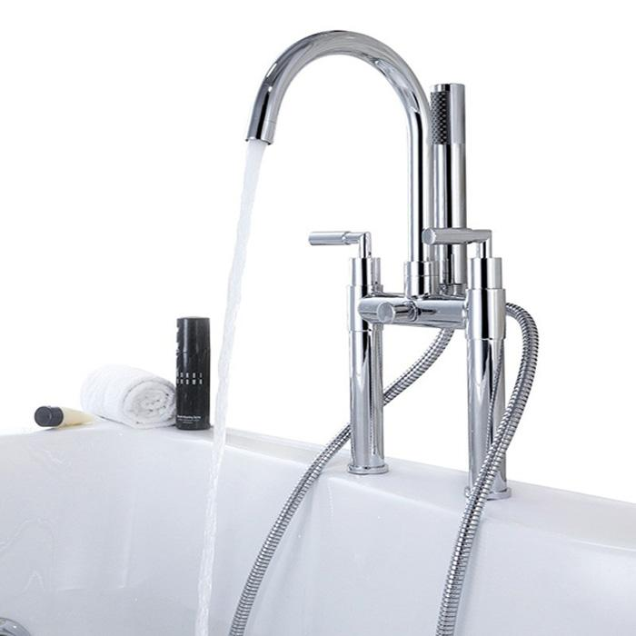 brass copper chrome two handle Bathtub Faucet, Chrome finish Bathtub hot and cold water Mixer tap with Hand Shower and Hose for bath BF950