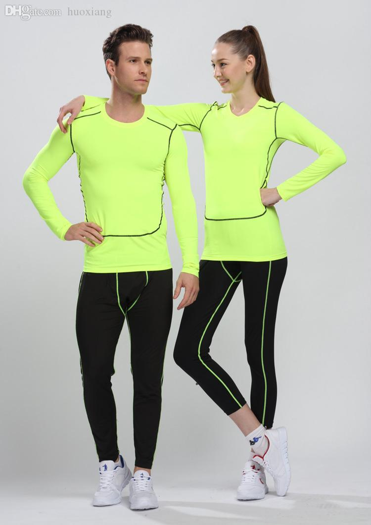 Wholesale-Men's Sport Compression Shirt Tights Base Layer Fitness Men Running Long Sleeve T Shirt Bodybuilding Clothes Shapers For Men