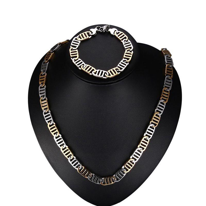 Aço inoxidável exagerado alta polido ip banhado a ouro colar pulseira 2 pcs conjunto de jóias homens do punk bangle