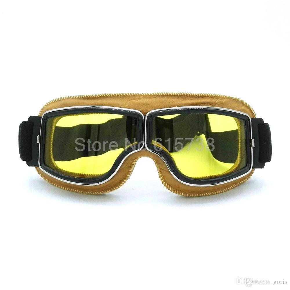 Brand new WWII Vintage for Harley style motorcycle goggles Pilot Motorbike goggles Retro Jet Helmet Eyewear 4 color lens