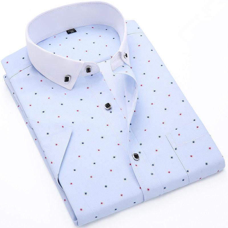 도매 - 2017 핫 세일 남자 짧은 소매 셔츠 패션 품질면 16 모델 폴카 도트 캐주얼 셔츠 슬림 편안한 망 드레스 셔츠