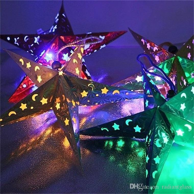 Healifty 5PCS 30/cm stella di Natale Decorazioni Paper Star Lantern 3D pentagramma paralume per Natale festa decorazioni da appendere