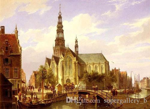 Cityscape Old Dutch Street with Church,Pure Handicrafts Scenery & Building Art oil painting on High Quality Canvas, in custom sizes
