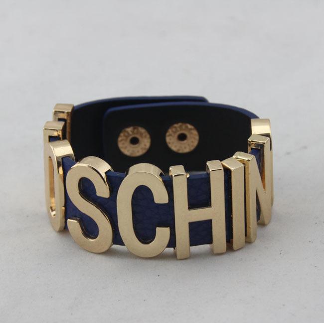 Fashion Leather Bangle With Gold Metal Letter Bracelets Punk Hip Hop Catwalk Bracelets For Women Party Gift