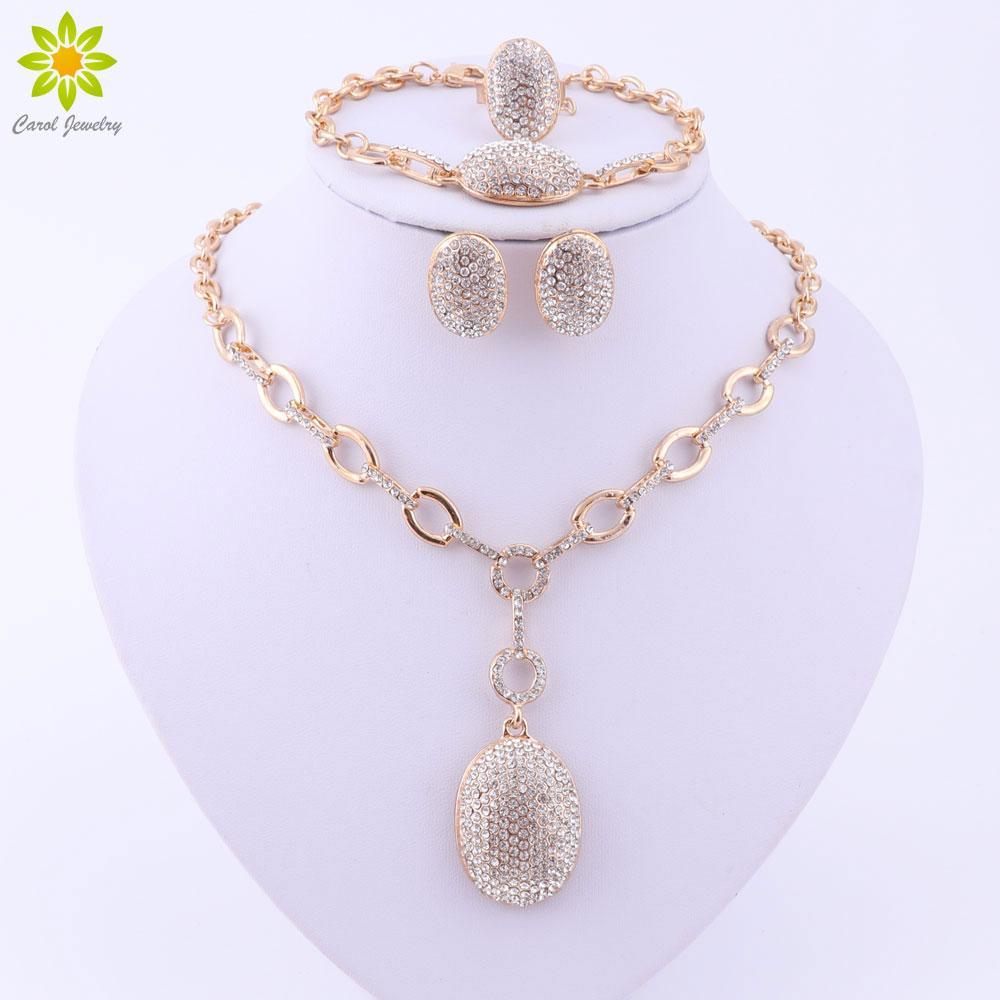 Insiemi dei monili per le donne Placcato oro dichiarazione collana orecchini bracciale completo cristallo anello accessori abito da sposa