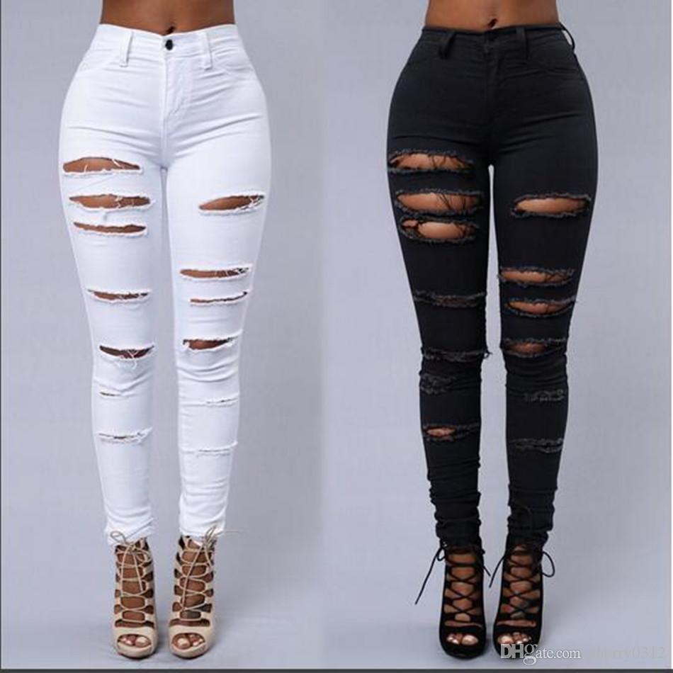 2019 nouveaux jeans pour femmes Boyfriend Crayon Skinny Jeans Femmes taille haute Ripped Jeans Noir Big Girls Pantalons Legging Skinny